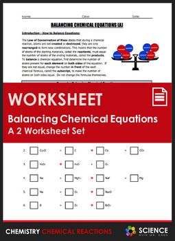 Worksheet - Balancing Chemical Equations (2 Worksheet Set ...