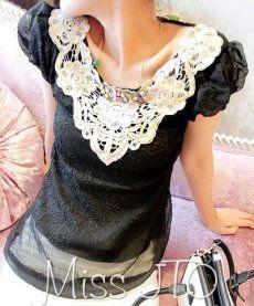 9a5aa74d45e J71433 Lace Neckline Chiffon Tops  J71433  -  9.00   China