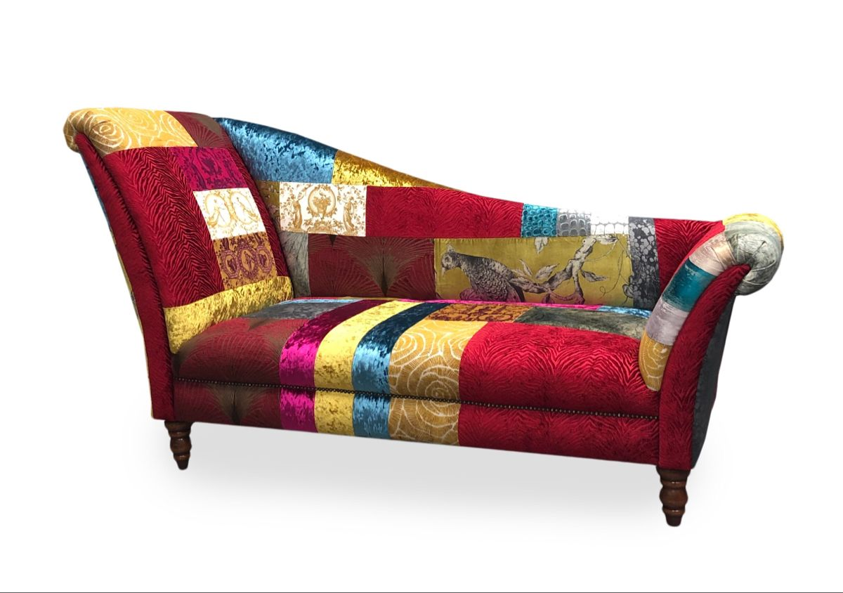Modern Double Ended Patchwork Chaiselongue In 2020 Chair And Ottoman Chaise Furniture