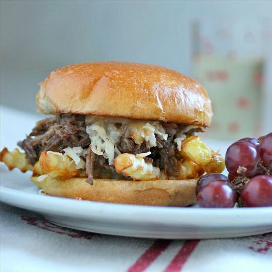 Beer Braised Shredded Beef with Poutine