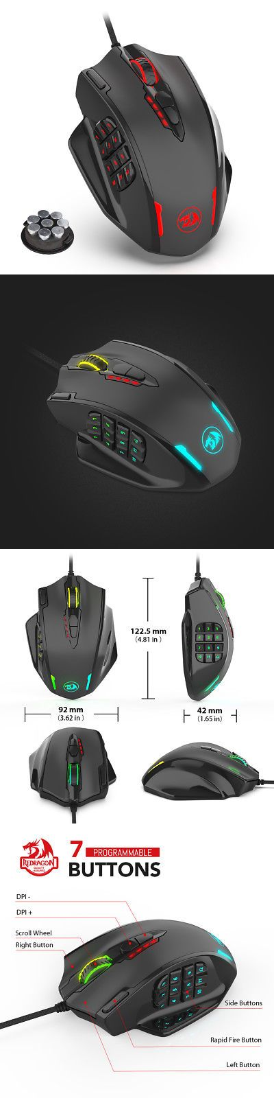 Mice Trackballs and Touchpads 23160: Redragon M908 Gaming