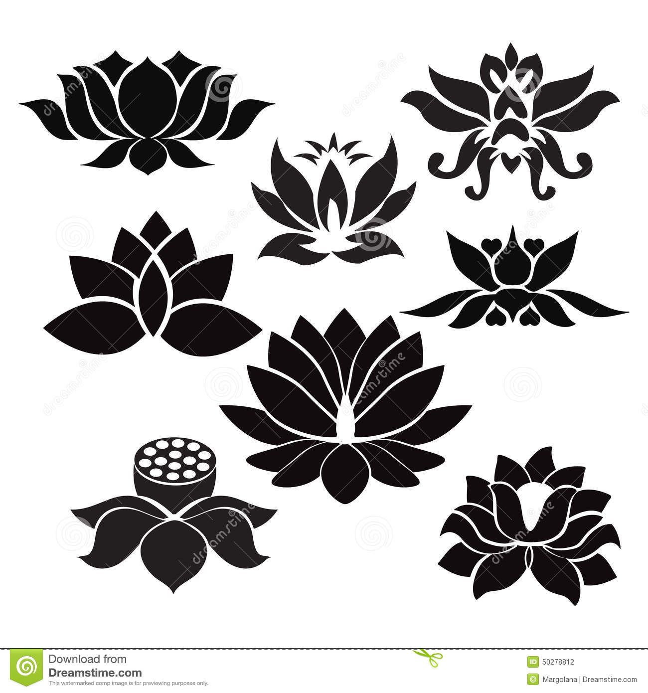 Yoga pattern background seamless pattern with five petals lotus flower - Lotus Pattern Flowers Silhouettes Vector On Vectorstock