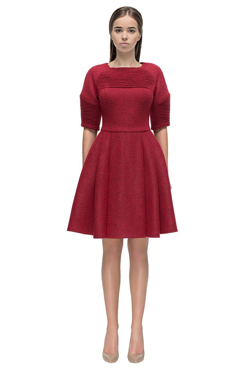 Red longingu milled wool dress with gathers products wool dress