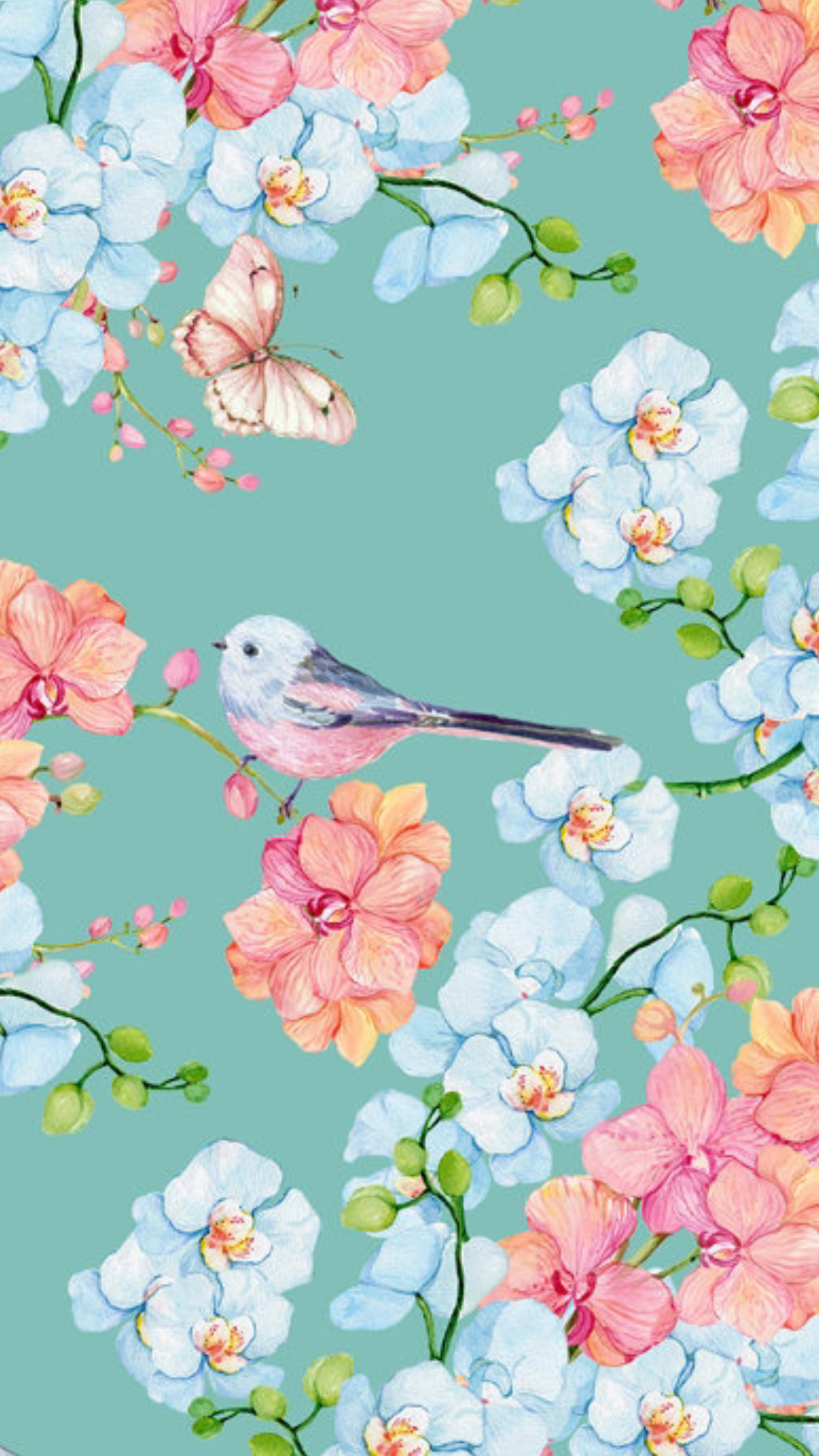 Summer Florals With Bird And Butterfly Watercolor Illustrations Pink Blue Teal Desktop Wallpaper Summer Watercolor Desktop Wallpaper Pattern Wallpaper