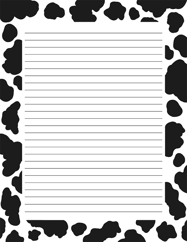 Printable Cow Print Stationery