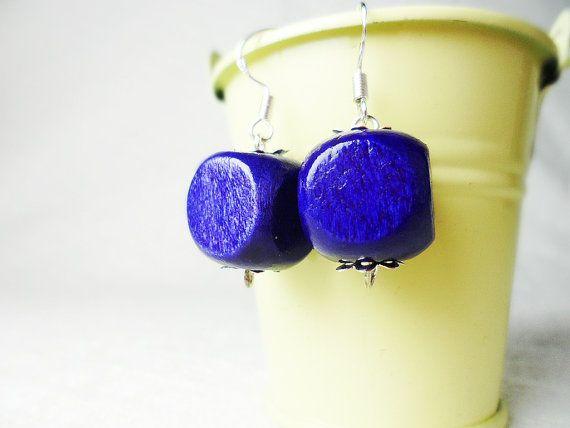 Purple cube earrings, silver hooks, Scandinavian / Nordic style