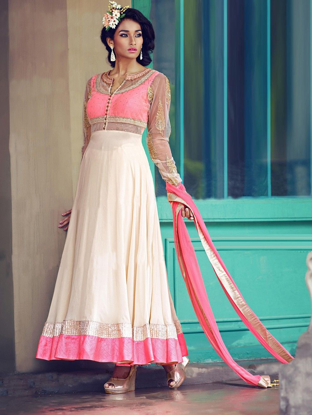 White And Pink Georgette Anarkali Suit With Swarvoski And Diamond ...