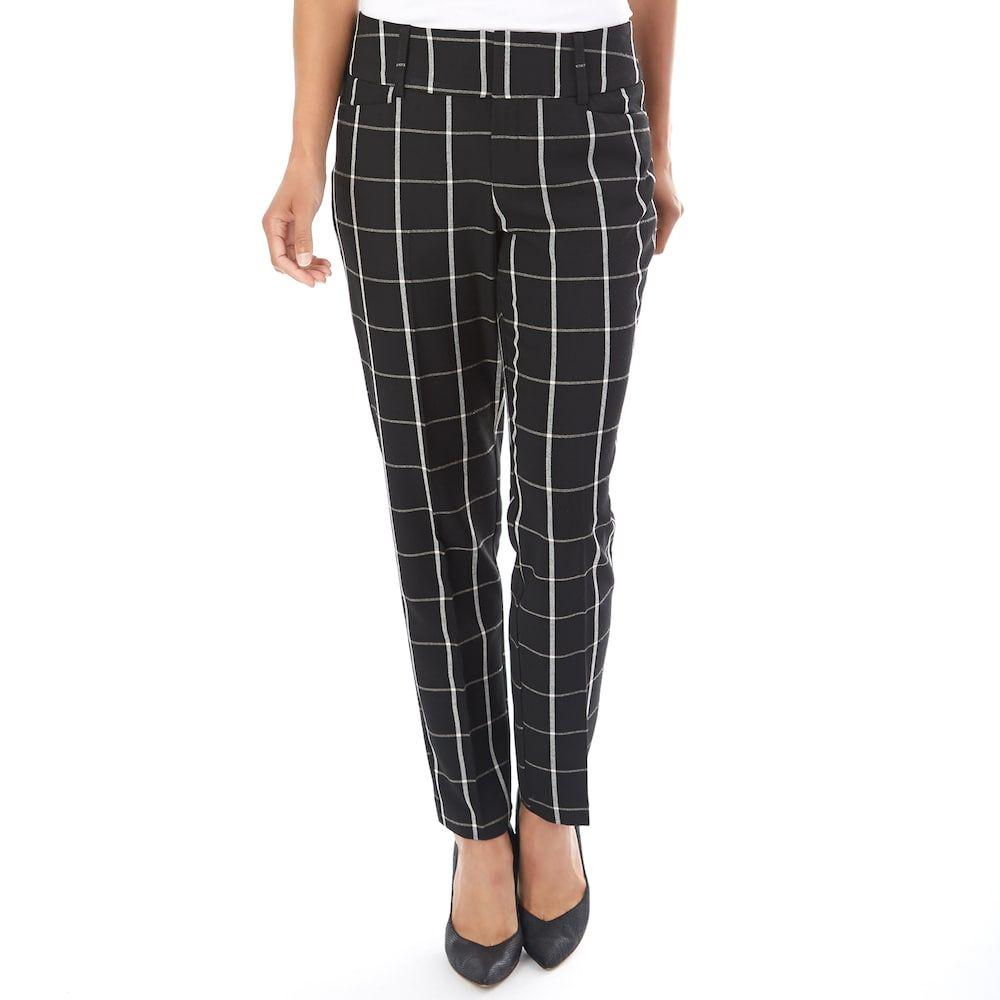 6f76042e4 Women's Apt. 9® Skinny Ankle Dress Pants, Size: 16, Black White Plaid