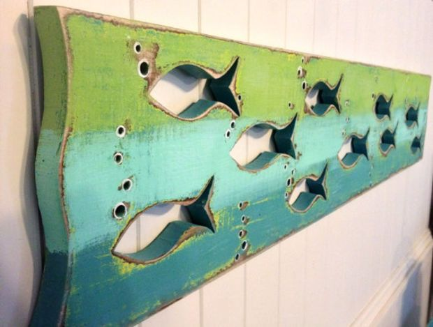 Fish Art Sign Panel Sea Glass Colours Beach Lake House Decor Cabin Cottage by CastawaysHall