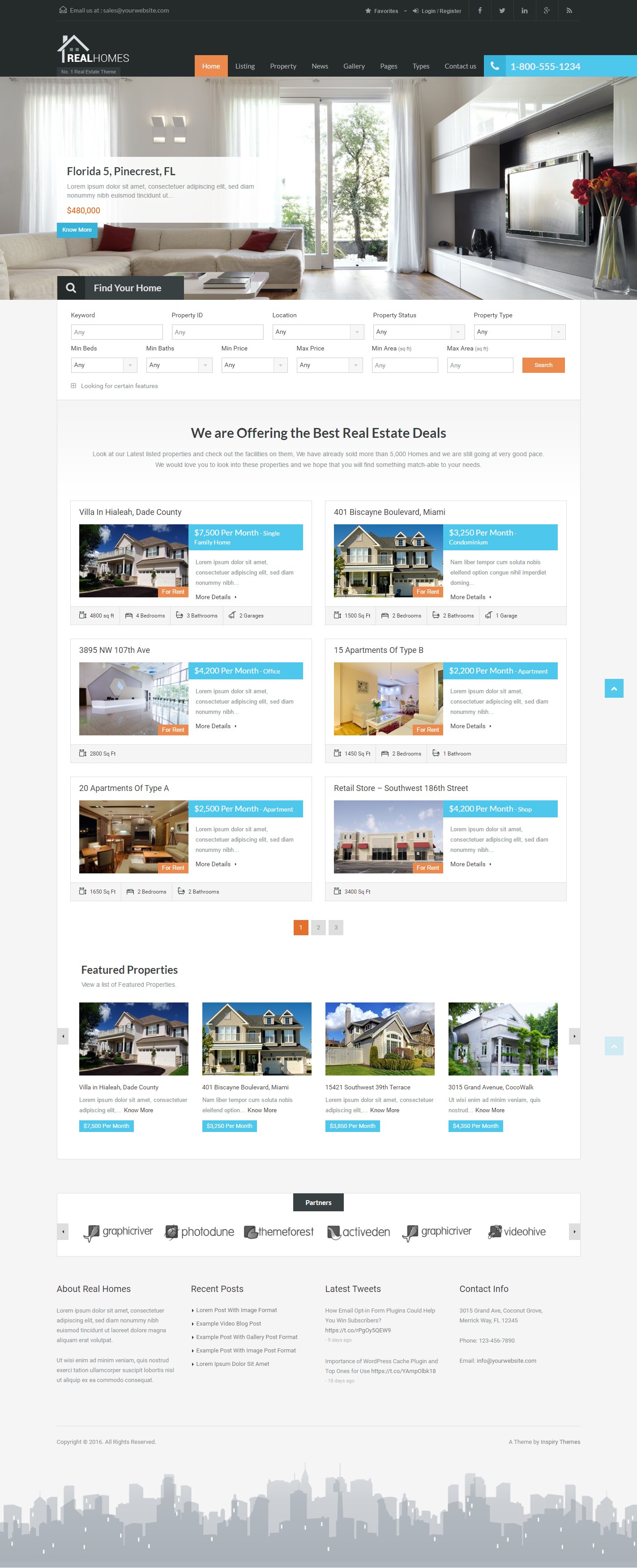 Real Homes is a premium WordPress theme for real estate websites. It has a purpose oriented design and it comes loaded with tons of useful features. Some of the main features are Advanced properties search, Google map with properties markers, Various templates to display properties with customizable options,