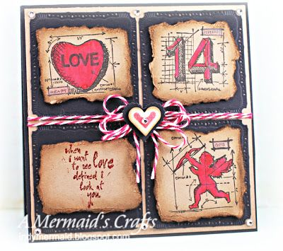 A Mermaids Crafts: Little Scrap Pieces Fun Friday - Love uses mini blueprint stamps.  Cute idea, for inspiration only.
