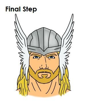 Draw Thor Final Step | Superhero face painting, Thor drawing