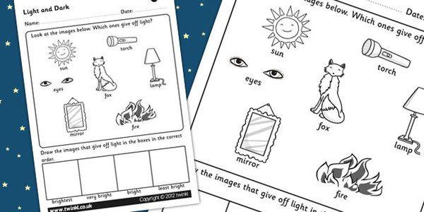 Light And Dark Worksheet Light In The Dark February Preschool Childrens Learning
