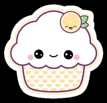 super kawaii lemon nom nom cupcake stickers!
