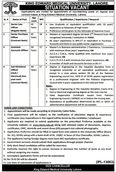 King Edward Medical University Jobs 2017 In Lahore For Assistant   Assistant  Controller Job Description  Assistant Controller Job Description
