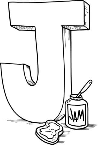 Letter J Is For Jam Coloring Page