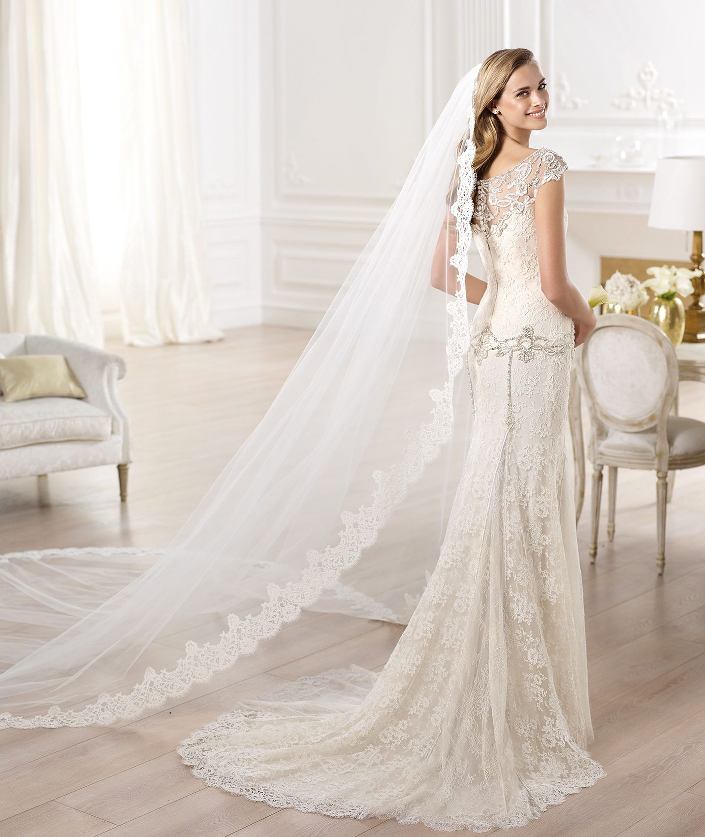 Again I Do Not Like The Lace But This Gorgeous Top Of Cap Sleeve Back Is What Would Want Pronovias Atelier 2014 Yalena Wedding Dress