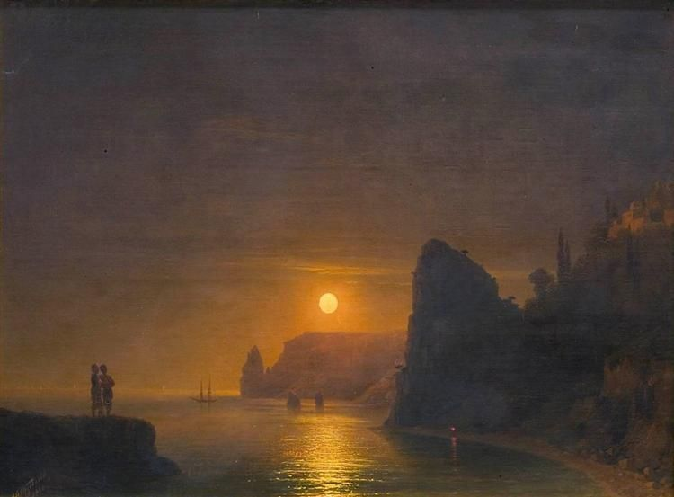 Moon Path, 1886 by Ivan Aivazovsky. Romanticism. landscape