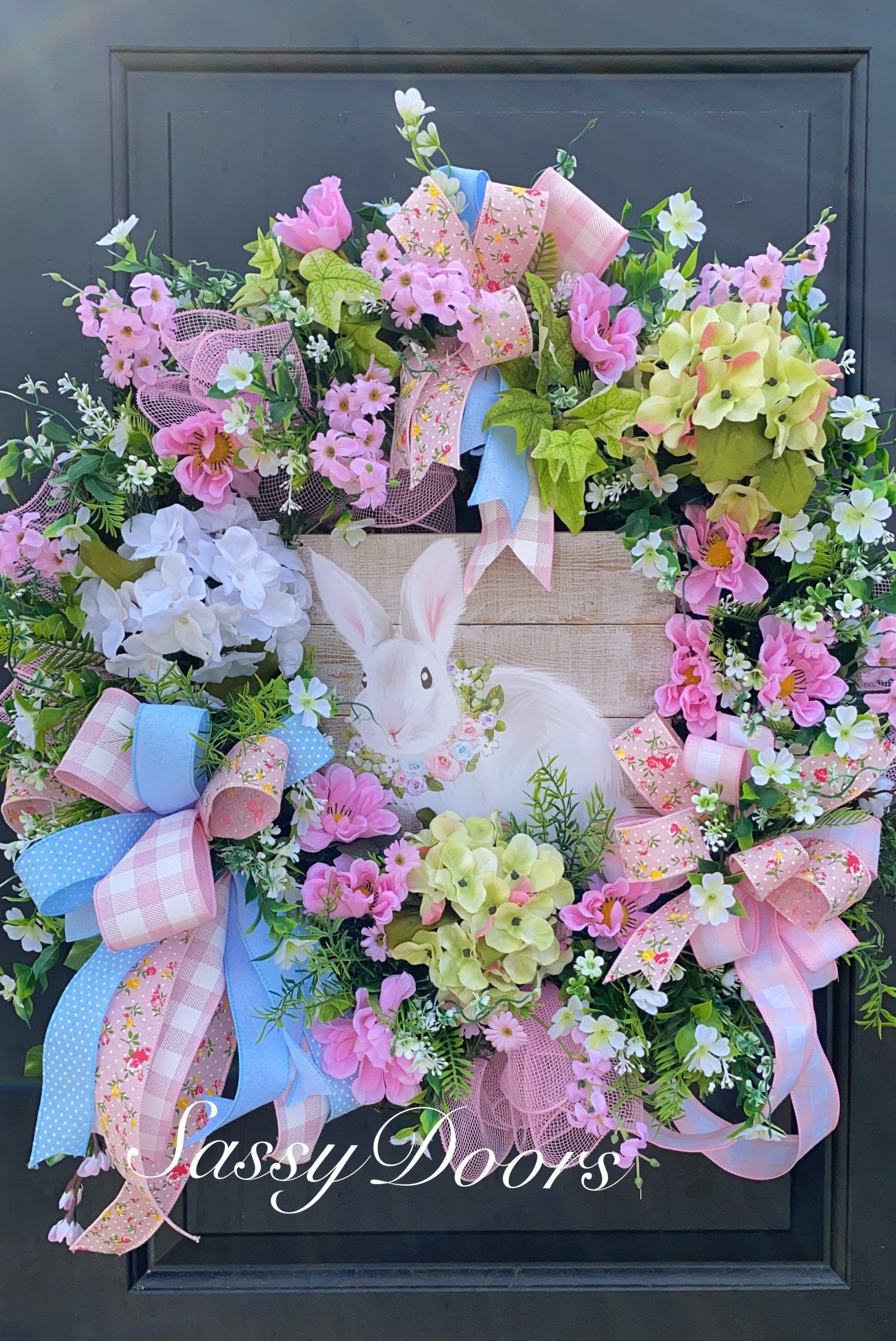 Photo of Easter wreath, Easter bunny wreath, spring wreath, cheeky door wreaths, Easter wreath with rabbit, Easter wreath