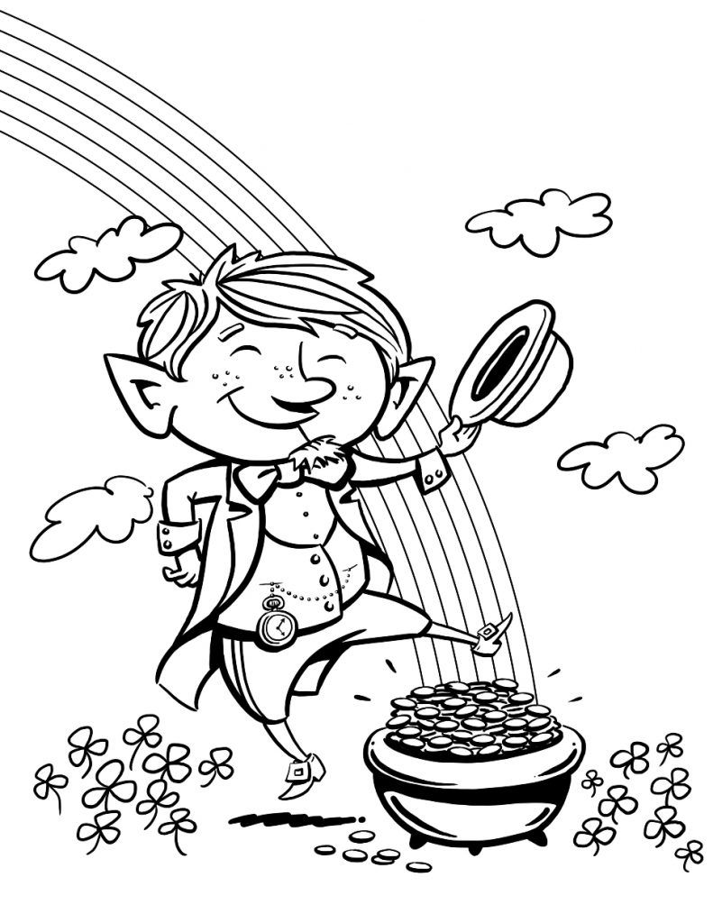 Leprechaun Coloring Pages St Patricks Day Pictures Leprechaun