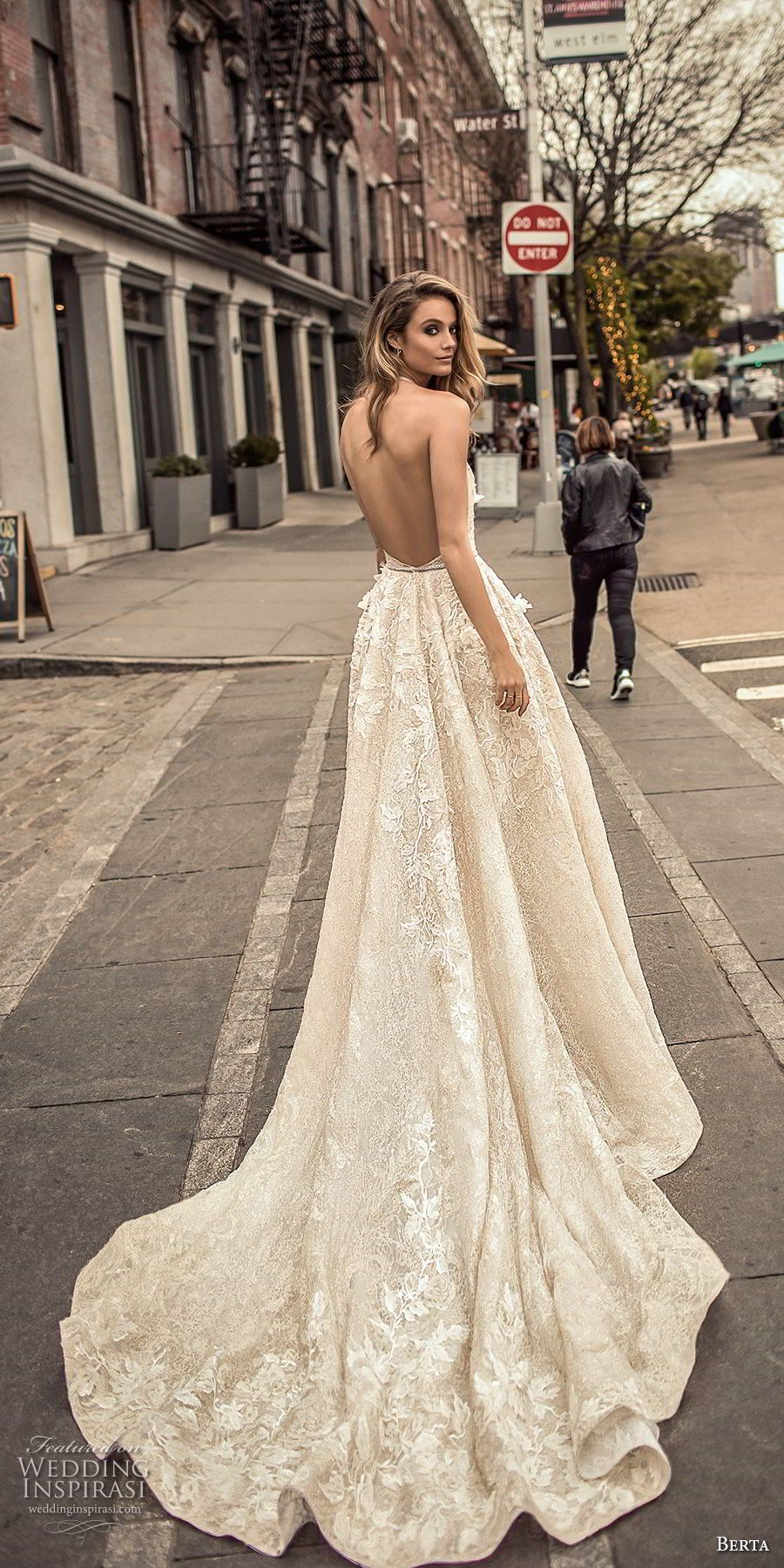 berta spring 2018 bridal sleeveless halter neck deep plunging v neck sexy  romantic modified a line wedding dress open back chapel train (5) bv --  Berta ... 629edd4ae