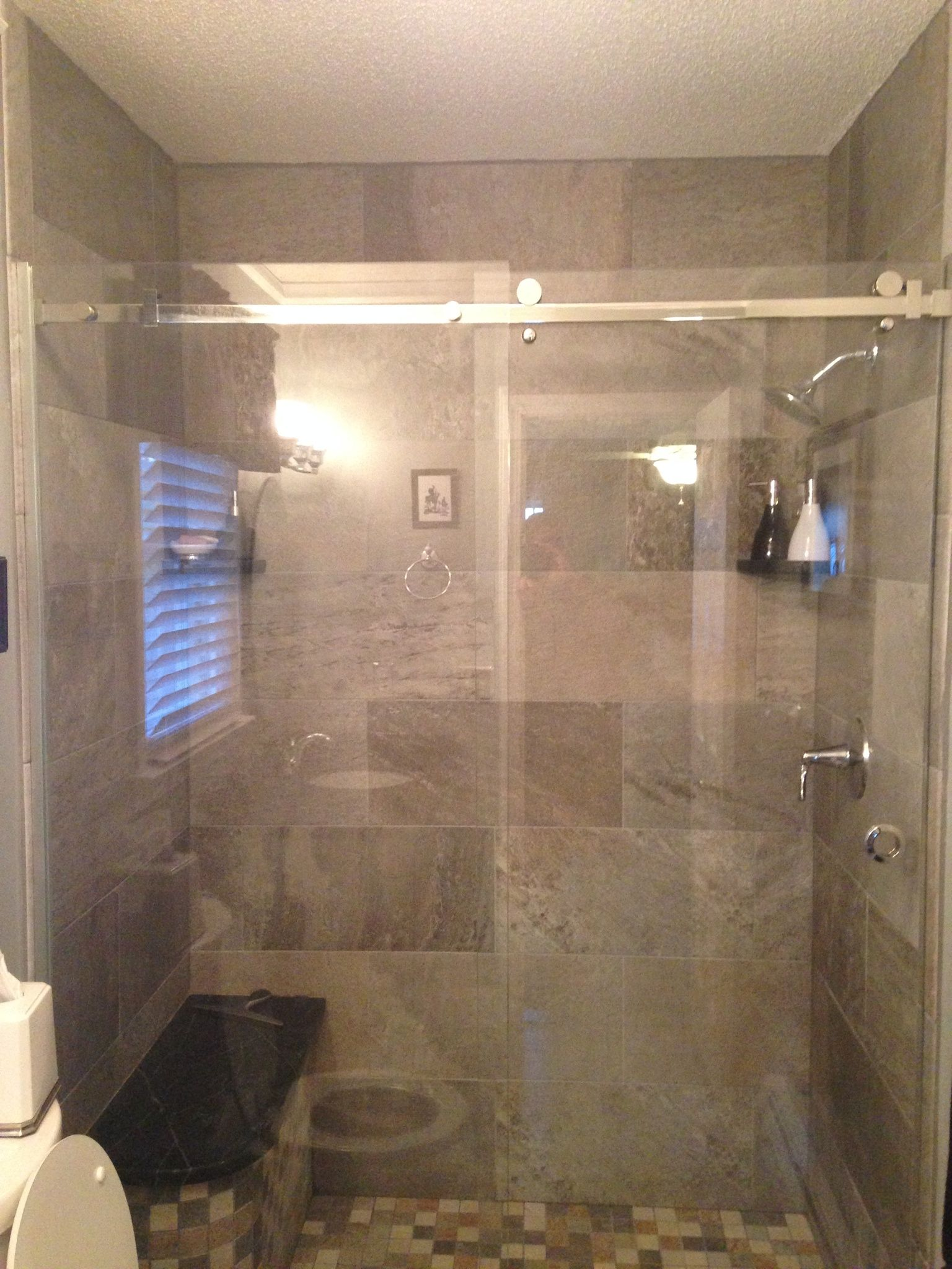 Custom Porcelain tile shower with Oasis Shower Hanging Shower ...