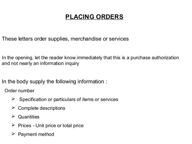placing orders these letters order supplies merchandise services - purchase order for services template