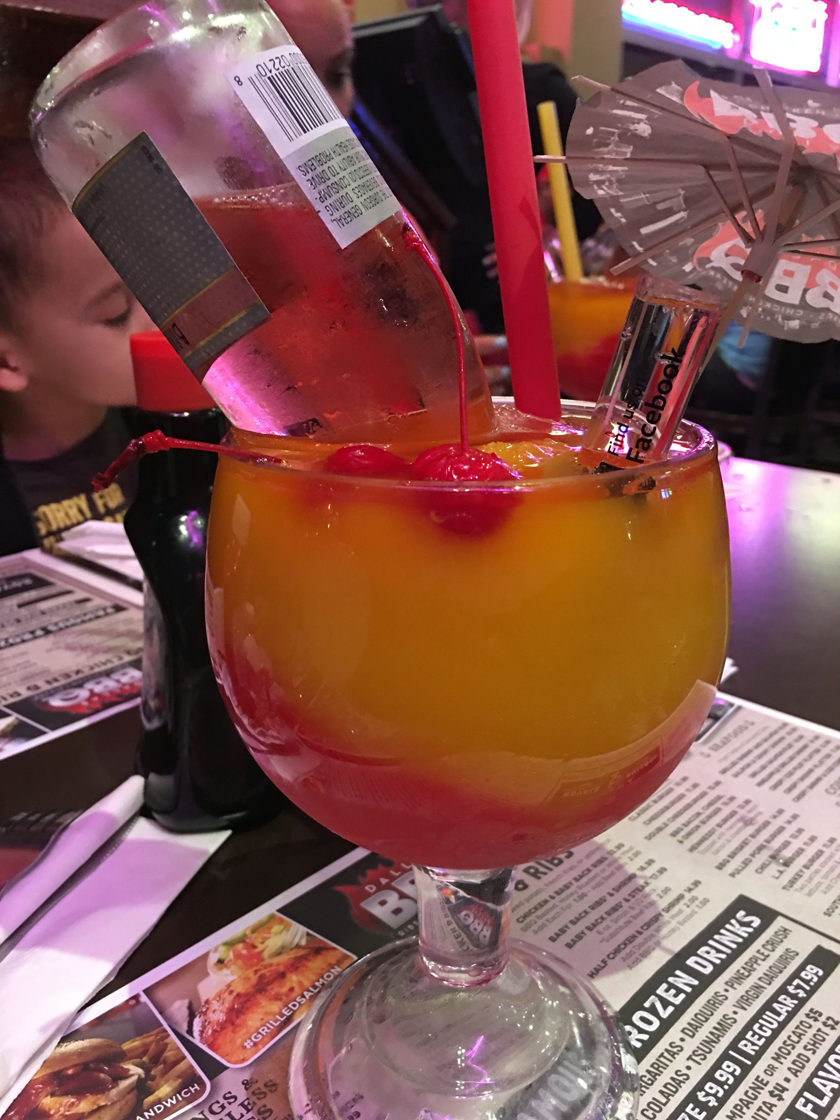 Strawberry Peach Slush With A Shot Of Coconut Rum Whichever Brand You Desire And A Mini Bottle Of Pink Barefoot Moscato