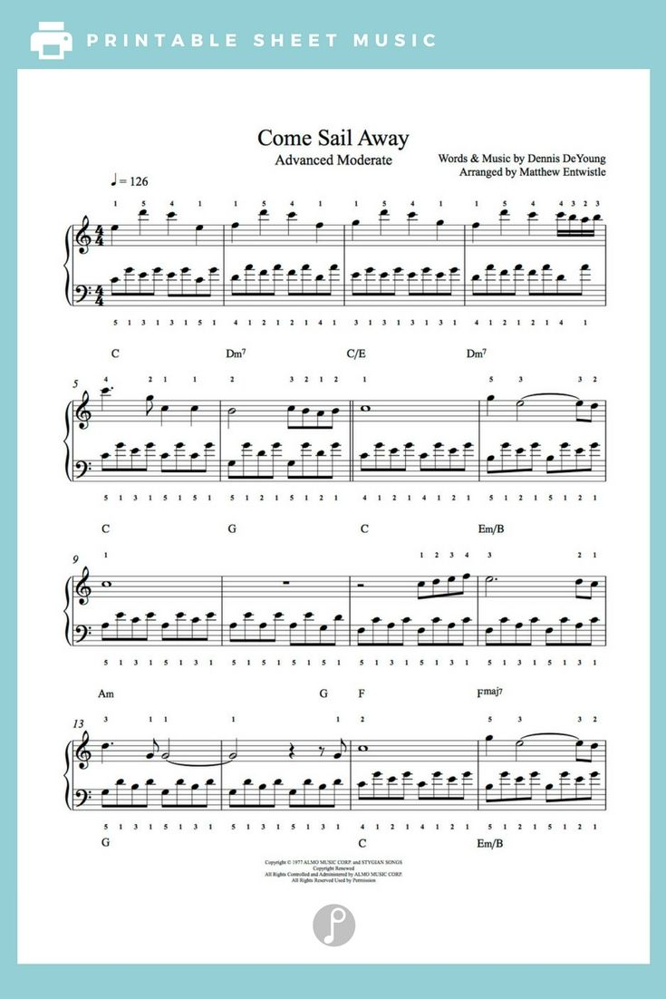 Come Sail Away By Styx Piano Sheet Music Advanced Level