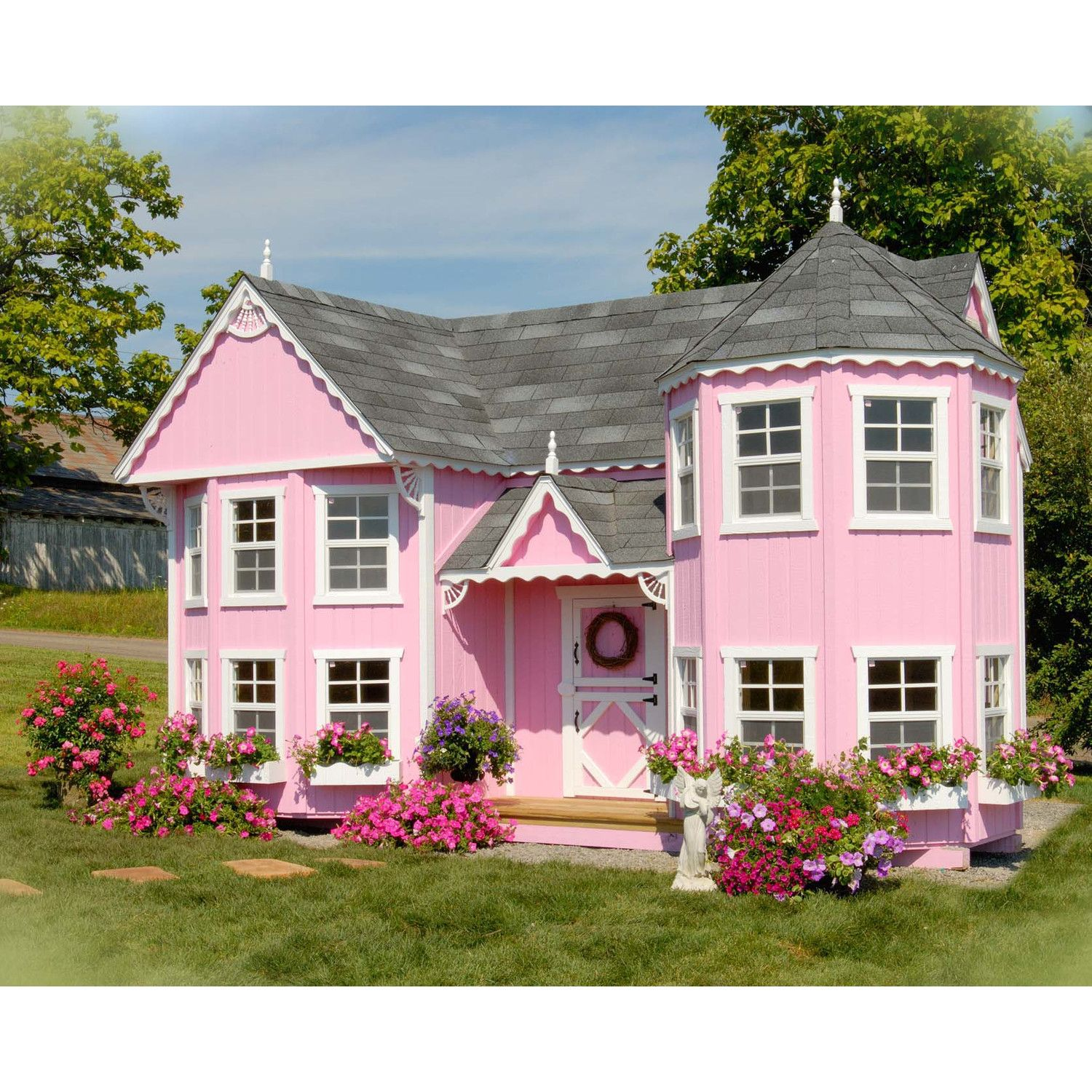 Little cottage company sara 39 s victorian mansion playhouse for Childrens wooden playhouse kits