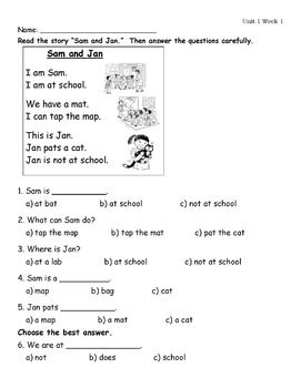 Wonders First Grade Unit 1 Week 1 Assessment | Reading ...