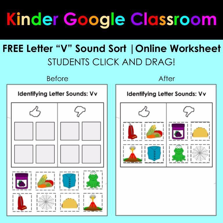 Free Letter V Sound Sort Google Classroom Distance Learning Google Classroom Online Learning Classroom