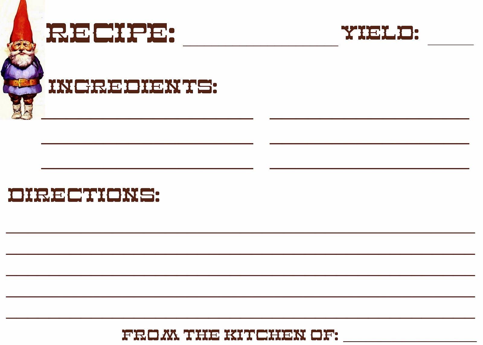 free gnome recipe card printable