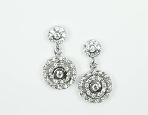Pendientes Círculos Oro Blanco Y Circonitas Pendientes De Diamantes Joyas Aros