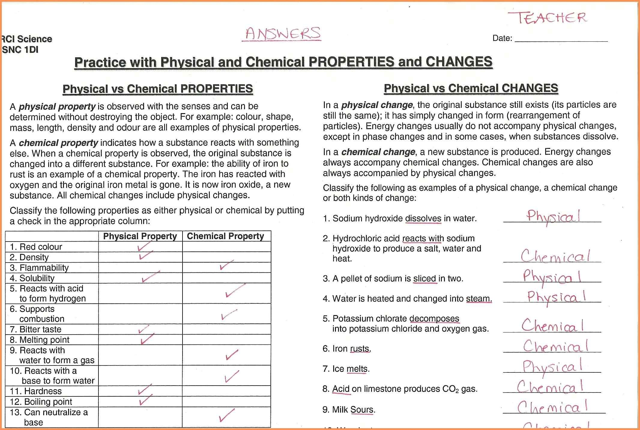 Matter And Change Worksheet Answers Physical Chemical Properties Property Circulatory System