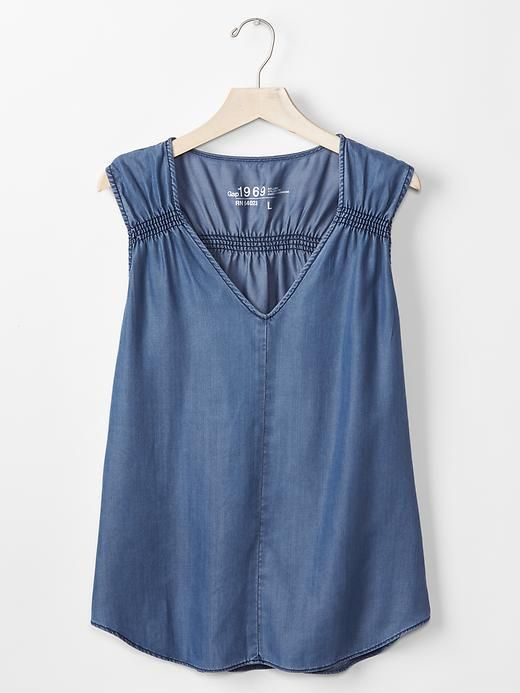 b40f5cc5bc 1969 Tencel® denim shirred tank