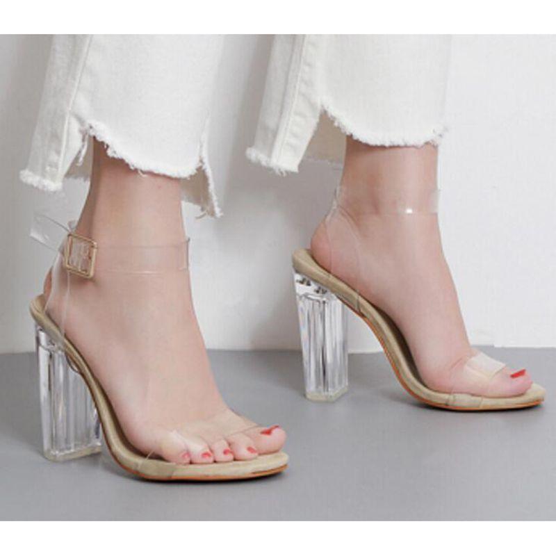 47da1679136 2017 Women High Heel Sandals Sexy Crystal Transparent Women Shoes Fish head  High Platform Shoes Large Size sandalias mujer z582