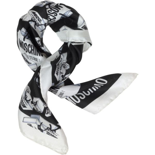 Moschino Couture Print Twill Silk Bandana (295 BRL) ❤ liked on Polyvore featuring accessories, scarves, black, patterned scarves, print scarves, bandana scarves, woven scarves and moschino