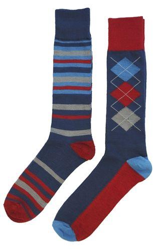 English Laundry 2 Pair Men S Socks Blue Stripes Blue And Red Argyles