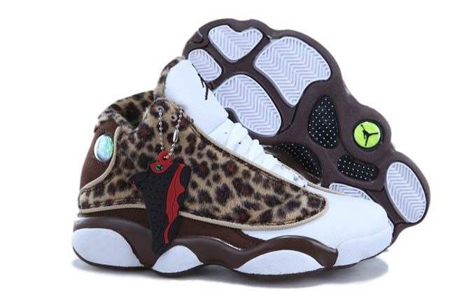 new arrival 3ae1e bef28 Nike Air Jordan 13 Leopard Brown White Coffee Kid Shoes 72355 CAD95.97 when  ken needs basketball shoes