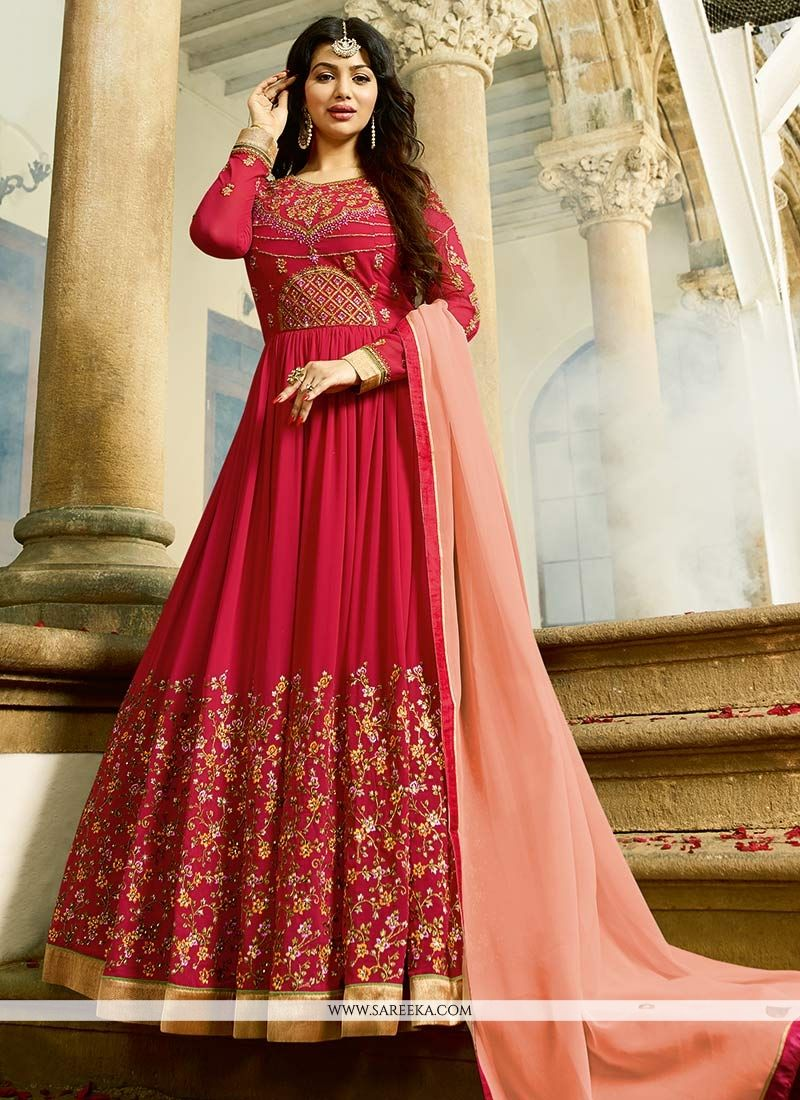 cb860a0df6 Add a vibrant burst of color to your wardrobe with this hot pink faux  georgette Ayesha Takia floor length anarkali suit. This attire is  beautifully adorned ...