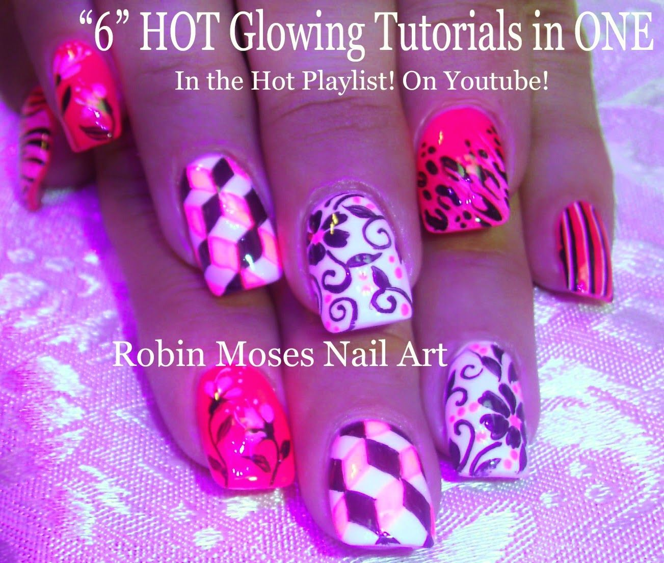 Tutorial for 6 glow in the dark designs | Nail Art and Nail-related ...