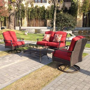 Better Homes And Gardens Providence 4 Piece Patio Conversation Set, Red,  Seats 4