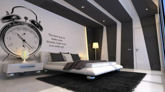 schwarz weiße abstrakte Wandgestaltung Ideen schlafzimmer - wandgestaltung ideen schlafzimmer