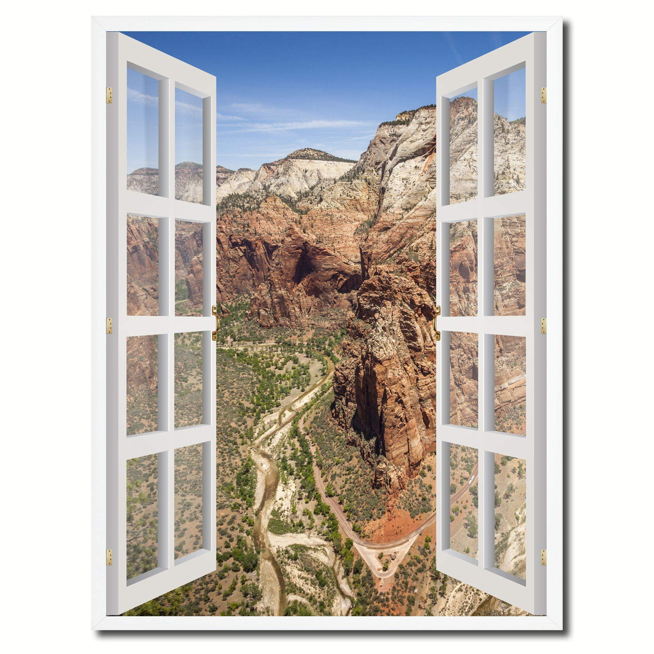 Window on wall decor  aerial view zion national park picture french window canvas print