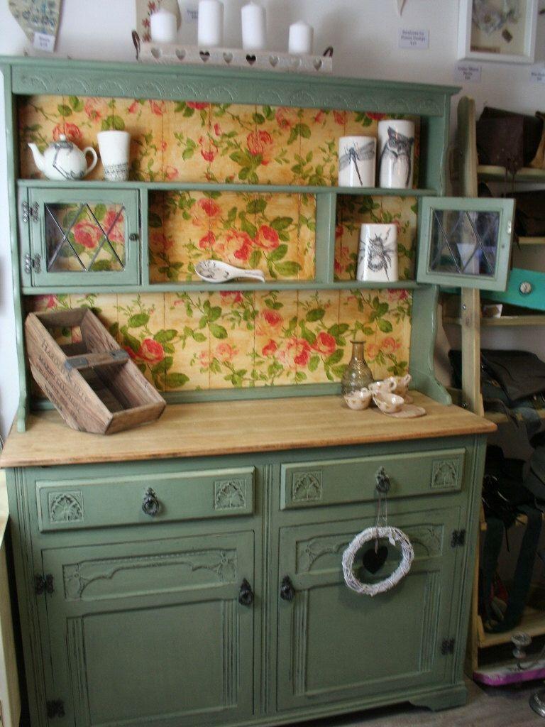 Sage Green Kitchen Dresser Sideboard Cabinet Welsh Dresser Decoupaged Shabby Chic Kitchen Kitchen Dresser Shabby Chic Dresser