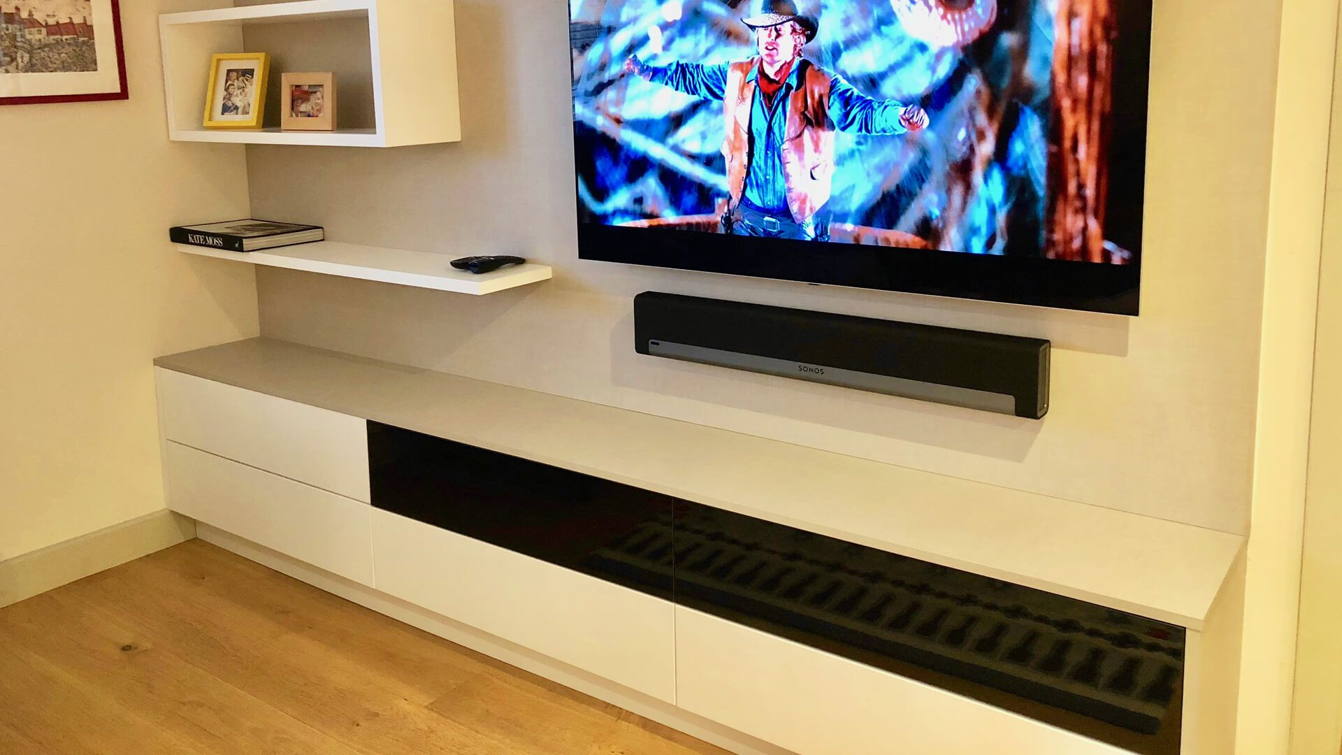 Bespoke wooden furniture - Media wall and cupboards | Bespoke ...