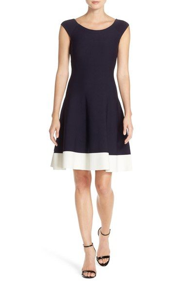 Eliza J Colorblock Fit & Flare Sweater Dress (Regular & Petite) available at #Nordstrom