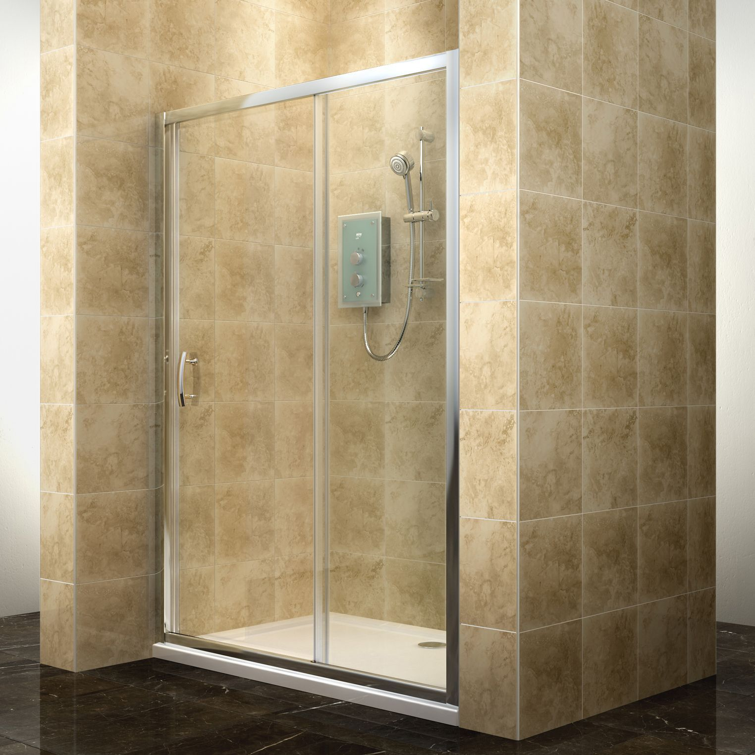 Cooke Lewis Deluvio Rectangular Shower Door W 1200mm D 1200mm Departments Diy At B Q Shower Doors Sliding Shower Door Modern Sliding Doors