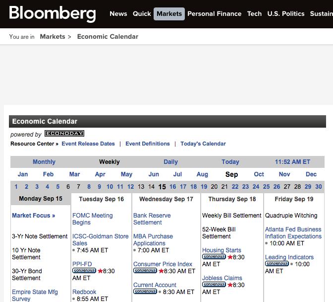 Bloomberg Economic Calendar Mutual Funds Pinterest Calendar